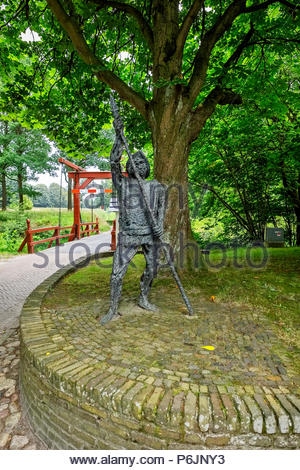 Sculpture at the entrance to Vesting Bourtange, the star-shaped fortress in Groningen Province, The Netherlands - Stock Image
