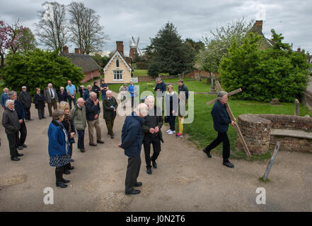 Thaxted, Essex, UK. 14th Apr, 2017. Easter Good Friday Thaxted Essex UK.14 April 2017 Daniel Fox carries the Christian - Stock Image