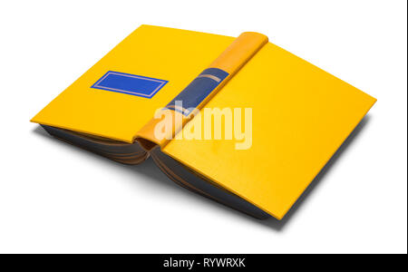 Open Yellow Book Isolated on White Background. - Stock Image