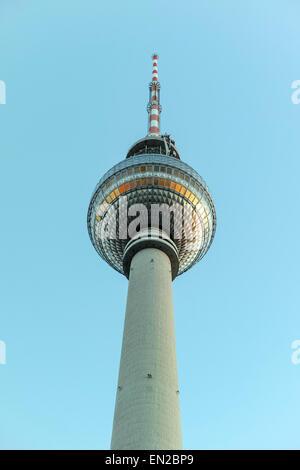 Cliché shot of the TV Tower at Berlin Alexanderplatz in evening light. - Stock Image