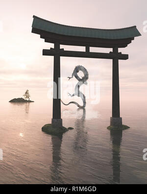 Oriental Dragon in the Sea Mist Behind a Shrine Gate - Stock Image