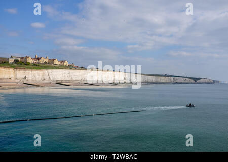 Brighton Marina Views UK - Roedean School on the cliffs as seen from the marina  Photograph taken by Simon Dack - Stock Image