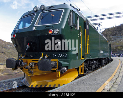 NSB El 17, electric locomotive on the Flåm Railway line in Myrdal - one of the world's steepest railway - Stock Image