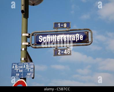 Frankfurt streetsign Schillerstrasse - Stock Image