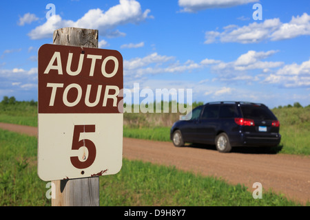 An auto tour sign is posted in the Crex Meadows Wildlife Area in western Wisconsin, USA. - Stock Image