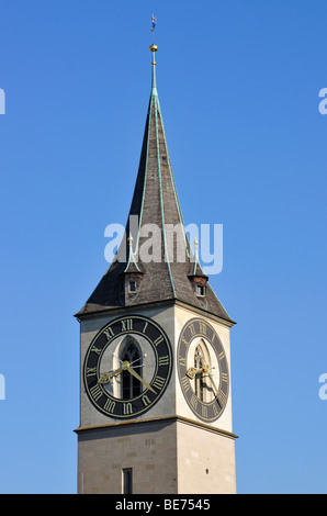 Dial of the clock on St. Peter's Church, with 8.70 m in diameter the largest clockface in Europe, Zurich, Switzerland, - Stock Image