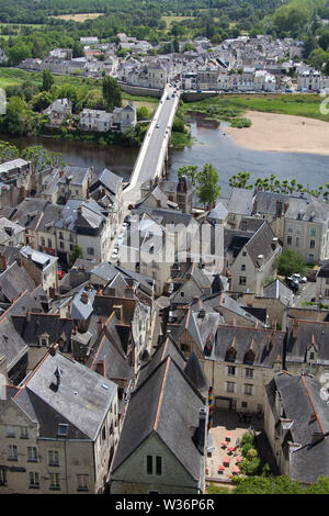 Chinon, France. Picturesque aerial view of Chinon, with the River Vienne and the village of Le Faubourg Saint-Jacques in the background. - Stock Image
