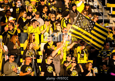 Mapfre stadium, USA. 23rd April, 2016. .Fans prepare for the first half of the match between Houston Dynamo and - Stock Image