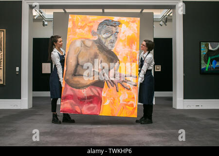 London UK. 21st June 2019. Sotheby's technicians with Selbsportrait mit Leeren Händen1998, Oil and acrylic on canvas by Albert Oehlen. Estimate: £4,000,000-6,000,000 at the Sotheby's Contemporary Art Auction preview for the Evening sale on 26 June Credit: amer ghazzal/Alamy Live News - Stock Image