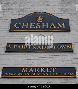 Chesham town name signs on wall of a building at Market Square, Chesham, Bucks, England, UK - Stock Image