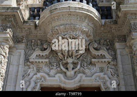 Spain. Andalusia. Seville. Palace of San Telmo. Main facade with Churrigueresque entrance, 1754 by Figueroa family. Detail. - Stock Image