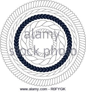 Round rope elements, frames, borders - Stock Image