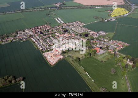 aerial view of Kirby Hill village near Boroughbridge, North Yorkshire - Stock Image