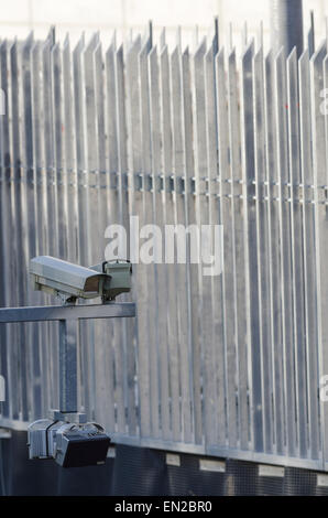 Fence and surveillance cameras at the new headquarters of the BND  the Federal Intelligence Service of Germany in - Stock Image