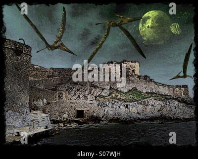 Brooding scene with crumbling cliff-top castle, pterodactyls, and an alien moon. - Stock Image