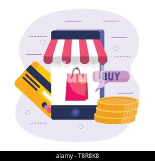 smartphone technology and shopping online with credit card vector illustration - Stock Image