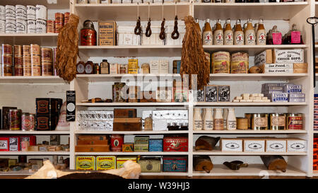 Merchandise for sale at the THE LITSCH GENERAL MERCHANDISE STORE in Shasta City, Redding, CA, USA. Here visitors can see what it was like to shop duri - Stock Image