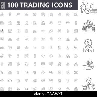 Trading line icons, signs, vector set, outline illustration concept  - Stock Image