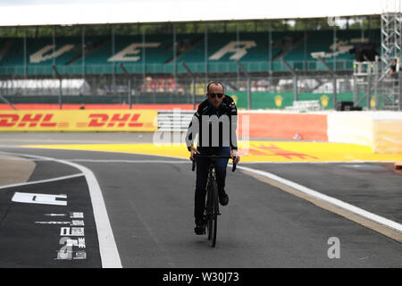 Silverstone, Northampton, UK. 11th July 2019. F1 Grand Prix of Great Britain, Driver arrivals day; ROKiT Williams Racing, Robert Kubica cycles Silverstone Credit: Action Plus Sports Images/Alamy Live News - Stock Image