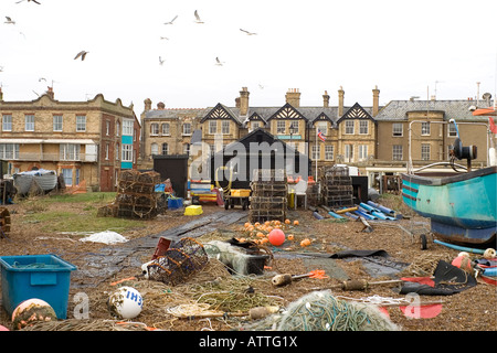 Aldeburgh Fish Shops Backyard - Stock Image