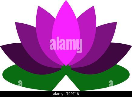 Lotus Flower Icon. Flat Color Design. Vector Illustration. - Stock Image