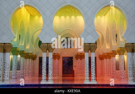 The colorful corridors inside the Shaikh Zayed Mosque also known as The Grand Mosque, in Abudhabi. - Stock Image