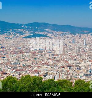 Barcelona, Spain, October 2018. View of the landscape from Mont Juic. - Stock Image