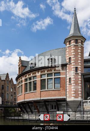 Historical Brick Building Lys River Ghent Belgium - Stock Image