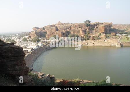 The agasthya agastya lake at badami, karnataka, India - Stock Image