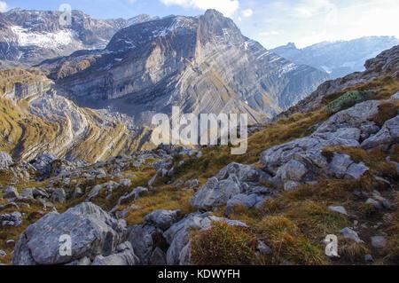 Alpine view of another mountain in the Swiss Alps. Vaude, Switzerland - Stock Image