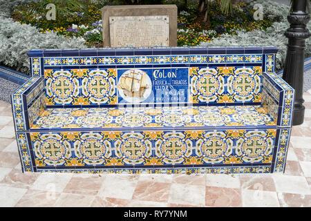 Old Colon tabacos advertising slogan on ceramic tiled bench in the  Plaza de Los Patos in Santa Cruz de Tenerife, Tenerife, Canary Islands - Stock Image