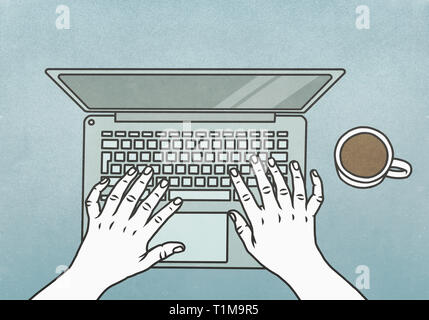 View from above hands typing at laptop - Stock Image