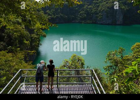 Emerald Lake (Blue Lagoon) in Ko Mae Ko island, one of is Ang Thong National Marine Park islands, Thailand - Stock Image