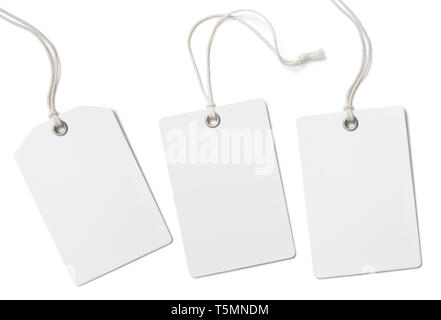 Blank paper price tags or labels set isolated on white - Stock Image