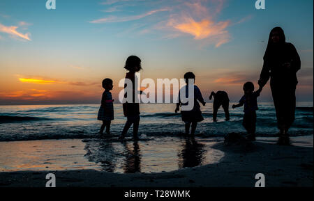Kids collecting sea shells during sunset at beach - Stock Image