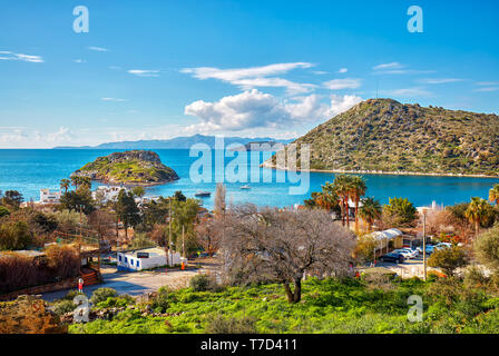 Bodrum, Turkey - January, 2019: From above view of Gumusluk bay and town in Bodrum, Mugla, Turkey. - Stock Image