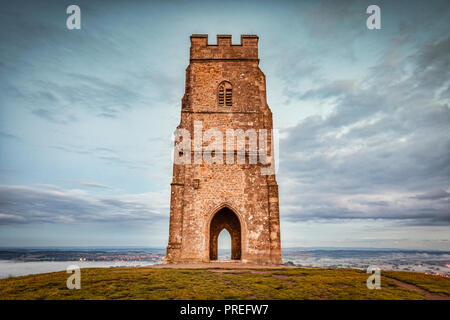 The remains of St Michael's church on Glastonbury Tor, Somerset, England. - Stock Image