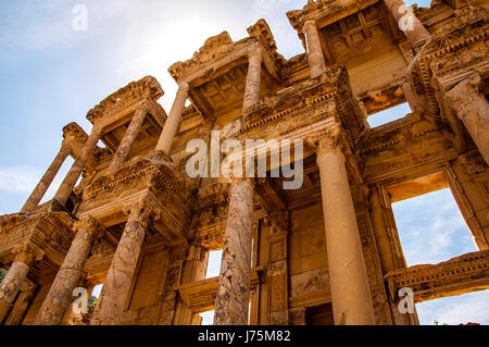 Picture of The library of Celsus at sunrise in the Roman ruins of Ephesus, Anatolia, Turkey. - Stock Image