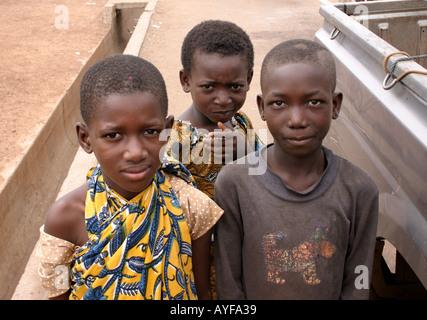 Children met in the street in a village in Central Ghana - Stock Image