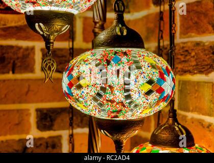 Close up shot of a hanging mosaic lamp - Stock Image