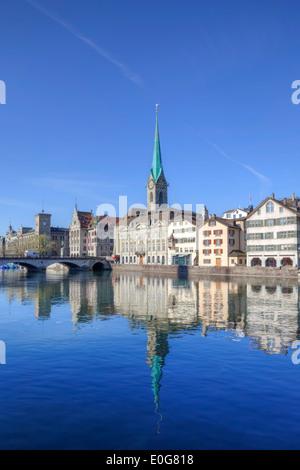 Fraumuenster, church, Limmat, Zurich, Switzerland - Stock Image