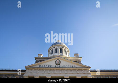 Marche Bonsecours in Montreal, Quebec, Canada, during a sunny afternoon, with the old coat of arms of the city. Bonsecours Market is one of the main a - Stock Image