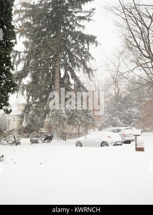 Chappaqua, NY, USA. 4th Jan, 2018. Winter storm Grayson, a bomb cyclone blizzard (named by meteorologists for a - Stock Image