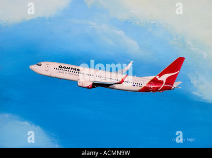 Painting of Qantas Boeing 737-838 flying above clouds - Stock Image