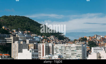 Cantagalo favela above Ipanema, Rio de Janeiro, pictured below. This shanty town used to be a prime drug dealing spot - Stock Image