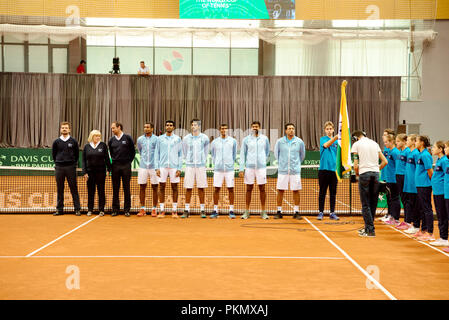 Kraljevo, Serbia. 14th September 2018. The Indian team at the opening ceremony of the Davis Cup 2018 Tennis World Group Play-off Round at the Sportski Center Ibar in Kraljevo, Serbia. - Stock Image