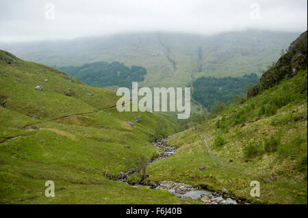 The picturesque upper reaches of Glen Finnan on a bleak November day - Stock Image
