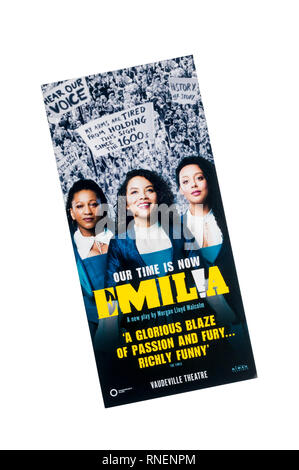 Promotional flyer for the Sheakespeare's Globe 2019 West End transfer of Emilia by Morgan Lloyd Malcolm, at the Vaudeville Theatre. - Stock Image