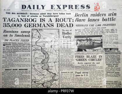'Taganrog is a Rout: 35,000 Germans Dead' front page headline of the Daily Express newspaper 2 September 1943  London UK - Stock Image