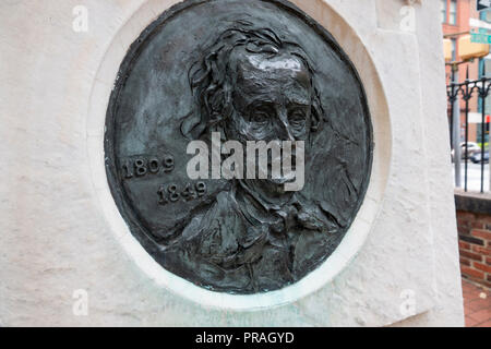 USA Maryland MD Baltimore Grave and burial place of poet author Edgar Allan Poe - Stock Image